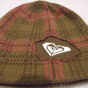Roxy Women's Beanie Green Brown Pink Plaid